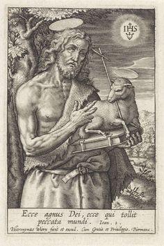 Hieronymus Wierix | Johannes de Doper, Hieronymus Wierix, 1563 - before 1619 | Landschap met Johannes de Doper, gekleed in een kamelenhuid, in zijn hand houdt hij een Bijbel waar het Lam op ligt. In de lucht het symbool van de jezuïeten. In de marge een tweeregelig Bijbelcitaat uit Joh. 1 in het Latijn.