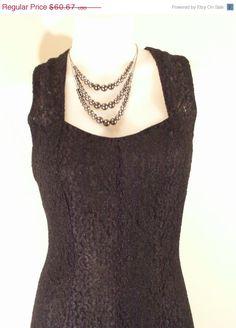 ON Sale Vintage Black Lace Sleeveless Dress by VendageTresors