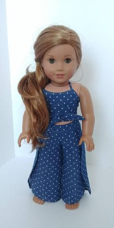Cross Stripe Jumpsuit With Vest Hat Fit For 18/'/' American Girl Doll Clothes New