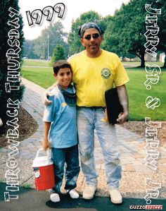 Owner, Jerry Guzzo Sr. with his son, Jerry Guzzo Jr. after a long day of work in 1999!  #GuzzoStucco #throwbackthursday #tbt #father #son #1999 #Stucco #Masonry #NJ #PA #DE #Family
