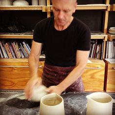 Colin is wedging of clay. Ceramic Studio, Action, Clay, Concept, Decorations, Ceramics, Instagram Posts, Design, Clays