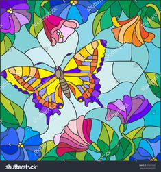 stained glass butterflies illustration in stained glass style with bright butterfly against the sky foliage and flowers stained glass butterfly window ornament Stained Glass Quilt, Faux Stained Glass, Stained Glass Designs, Stained Glass Patterns, Illustration Papillon, Butterfly Illustration, Butterfly Canvas, Glass Butterfly, Mosaic Art