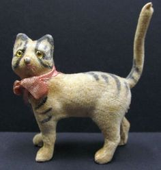 Antique Tiny Glass Eyed Velvet Cat w/ German Label - Perfect for Bisque Dolls (03/04/2013)