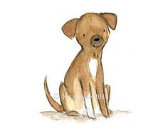 This little pup wants to know if you'll come and play! - art print from an original watercolor, gouache, and acrylic painting by Kit Chase. - archival matte paper and ink - vertical print - ships worl Woodland Creatures, Cute Characters, Nursery Art, Nursery Prints, Pet Portraits, Cute Art, Watercolor Art, Original Paintings, Art Prints