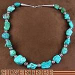 Navajo Jewelry Sterling Silver And Turquoise Bead Necklace