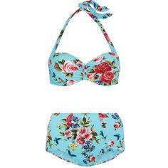 Dolce & Gabbana Floral-print bikini (27.475 RUB) ❤ liked on Polyvore featuring swimwear, bikinis, ruched high waisted bikini, floral bikini, halter bikini tops, halter top and halter neck bikini