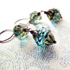 Aqua Blue Czech Glass Bead Earrings Antiqued by jFrancesDesign.   Soooo pretty!