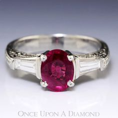 1.67ctw Oval Ruby & Baguette Diamond 3 Stone by OnceUponADiamond, $4695.00