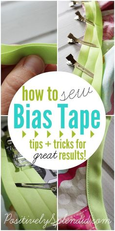 Sewing 101 Foolproof tips for how to sew bias tape like a pro, even if you are a beginner! (I just bought some today, by chance, so maybe this'll help me do an even better job!) - A tutorial for how to sew bias tape onto projects. Sewing Basics, Sewing Hacks, Sewing Tutorials, Sewing Crafts, Sewing Tips, Sewing Ideas, Sewing Lessons, Serger Sewing, Tutorial Sewing