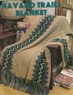 Navajo crochet afghan. I love the bold pattern on this crochet blanket- perfect for any season!