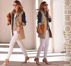 Look do Dia Mireia - My Daily Style, look branco, utilitário, trench coat, scarpin, stiletto, jaqueta jeans, colete