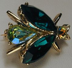 Bee Bug Insect Brooch Emerald Green and Aurora by ForeverMiVintage