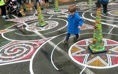 Lambton Labyrinth (2016), tape art labyrinth, Wellington, NZ. #tapeartnz #ericaduthie #struanashby #tapeart #street art Tapas, Tape Art, Street Art