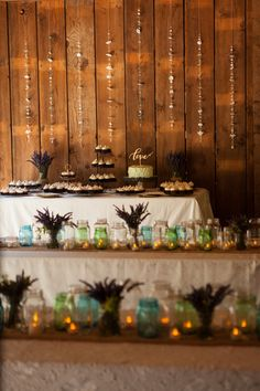 Mason Jars and Lavender as Centerpieces in Rustic Barn Wedding Decor