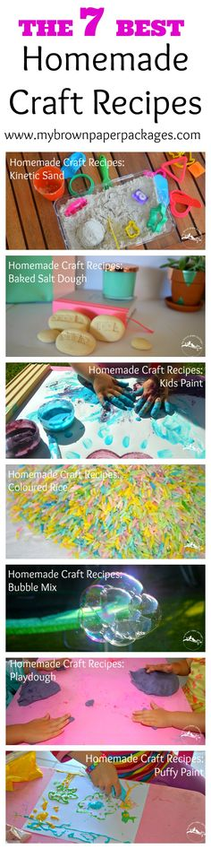 7 Best Homemade Craft Recipes - playdough, Kinetic sand, puffy paint, paint, baked salt dough, bubble mix. Cheap and easy to DIY some fun for kids.