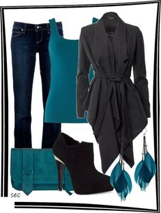 """""""Black and teal"""" by coombsie24 on Polyvore"""