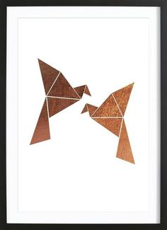 Vogel Kupfer als Premium Poster gerahmt