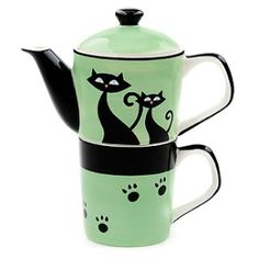 TEA SET: Black Cat Teapot-&-Mug Combo ___________________________ Reposted by Dr. Veronica Lee, DNP (Depew/Buffalo, NY, US)