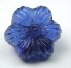 Antique Charmstring Glass Button Blue Flower Mold Swirl Back