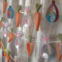 Easter Garland with Bunny, Carrot and Egg by MidnightCrafting - Easter Spring DIY Decor - Baby Shower - Easter Party - class decoration Easter Crafts, Holiday Crafts, Easter Backdrops, Rabbit Crafts, Easter Garland, Easter Colors, Easter Party, Paper Decorations, Greeting Cards Handmade