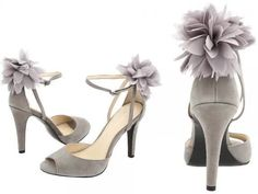 grey romantic bridal heel wedding shoes