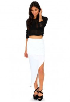 Missguided - Azami Ruched Split Maxi Skirt In White