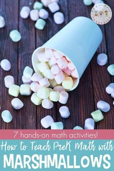 Are you looking for hands-on ways to teach preschool math? Discover seven hands-on ideas for teaching math with marshmallows!
