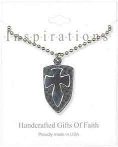 Polished Silver Cross On Black Shield Necklace