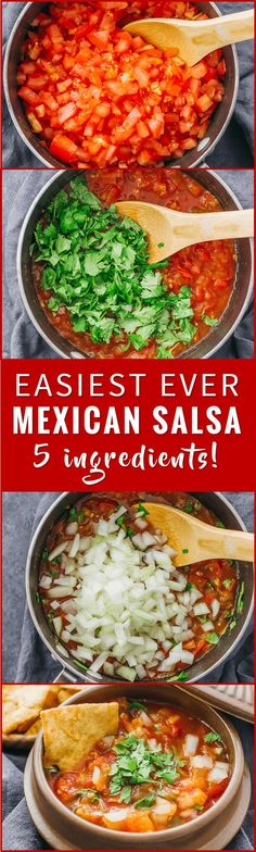 Mexican salsa doesn't get easier than this: you only need 5 ingredients to make this fresh, chunky, and spicy tomato salsa recipe. homemade, canning, fruit, fresh, restaurant, easy, roja, chilis, pico de gallo, pico de galo, spicy, chunky, dip, mexicanas, authentic, tomatoes, chipotle, best, red, hot, home made, bar, rezepte, freezer, mild, fresca, garden, healthy, sauce via @savory_tooth