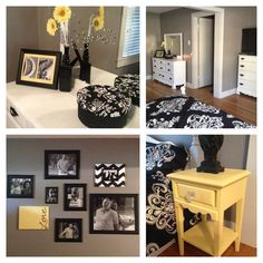 black, white, gray and yellow bedroom | Bedroom Transformation black/yellow/gray/white | For the Home