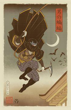 Sengoku Batman - Japanese Ukiyo-e Style Art