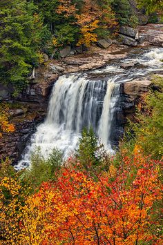 Autumn Blackwater Falls.  One of the many beautiful state parks in West Virginia; photo by .Steve Harrington