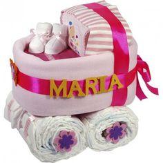 Carrito de Pañales Rosa - Las tarta de pañales para bebés más espectaculares y originales están en lacestamagica.com ¡Visita nuestra Web!