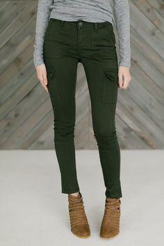 Skinny Cargo Pants- Olive