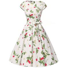 Round Neck Cherry Printed Bowknot Skater Dress (44 CAD) ❤ liked on Polyvore featuring dresses, white dresses, cotton dress, white flare dress, flared dress and short flared dresses