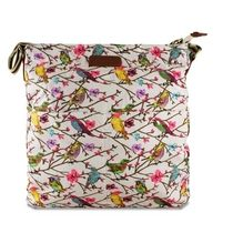 Canvas olkalaukku, happy birds, pinkki 24,90 e