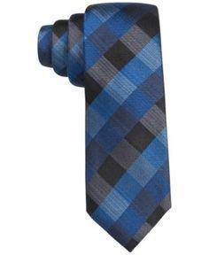Alfani Men's Sidney Gingham Slim Tie, Only at Macy's - Blue