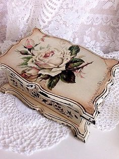Discover thousands of images about Russian decoupage Decoupage Box, Decoupage Vintage, Wood Crafts, Diy And Crafts, Raindrops And Roses, Pretty Box, Painted Boxes, Jewellery Boxes, Vintage Box