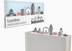 duncan shotton's sticky page markers form miniature landscapes