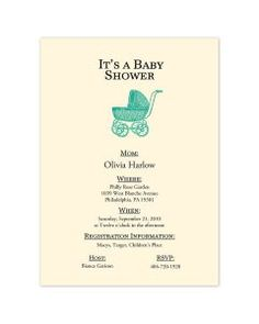 Pram Baby Shower Invitations