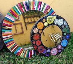Trabalhos em Mosaico: Espelhos Coloridos de Mosaico