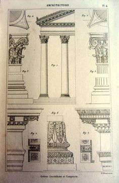 Antique greek architecture engraving 1852 by LyraNebulaPrints, $23.95