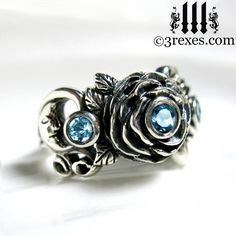 Silver Rose Moon Spider Ring Blue Topaz Stones Gothic Flower Band Size 6 on Etsy, $155.00...if I have a boyfriend on my birthday or Christmas, in asking for this.