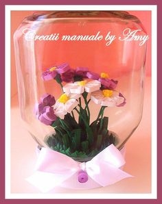Home deco quilling in jar Paper Quilling Patterns, Quilling Craft, Quilling Flowers, Quilling Tutorial, Jar Art, Bottle Art, Glass Jars, Cardmaking, Origami