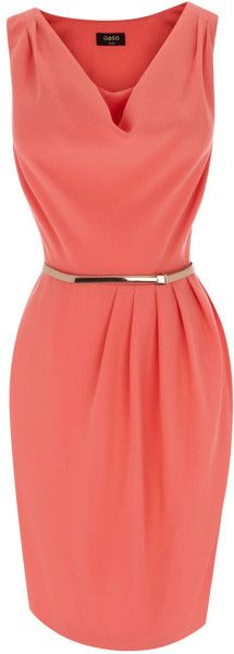 Oasis Cowl Drape Dress in Red (coral) - Lyst