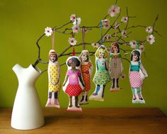 DIY ~ Transfer photos of your children to Fabric and make hanging dolls.