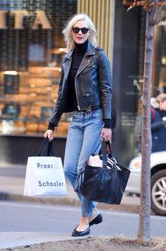 Karlie Kloss wearing Isabel Marant Etoile Wardy Black Trapezoidal Bag, Saint Laurent Leather Biker Jacket, Chanel Ballerina Flats Patent Toe Black, Saint Laurent Bold 2 Sunglasses and Wolford Colorado Bodysuit in Black