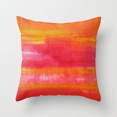 'Summer Day' Orange Red Yellow Abstract Art Throw Pillow by art-by-lang - Cover x with pillow insert - Indoor Pillow Orange Red, Yellow, Summer Days, Pillow Inserts, Abstract Art, Throw Pillows, Indoor, Cover, Interior