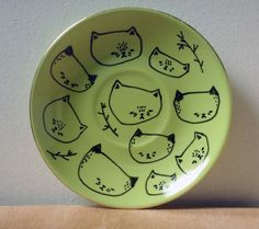 small hand painted plate - ten cats by Pretty Little Thieves #etsy