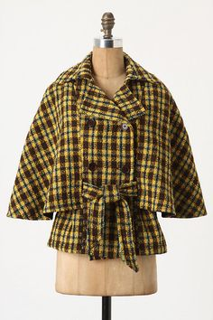 Belted Plaid Cape by What Comes Around Goes Around